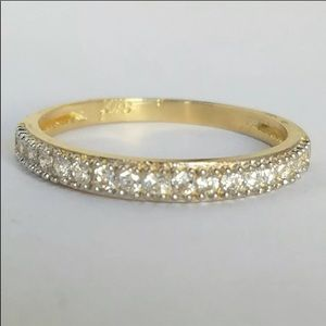 New Solid 14k Gold half Eternity Wedding Band Ring